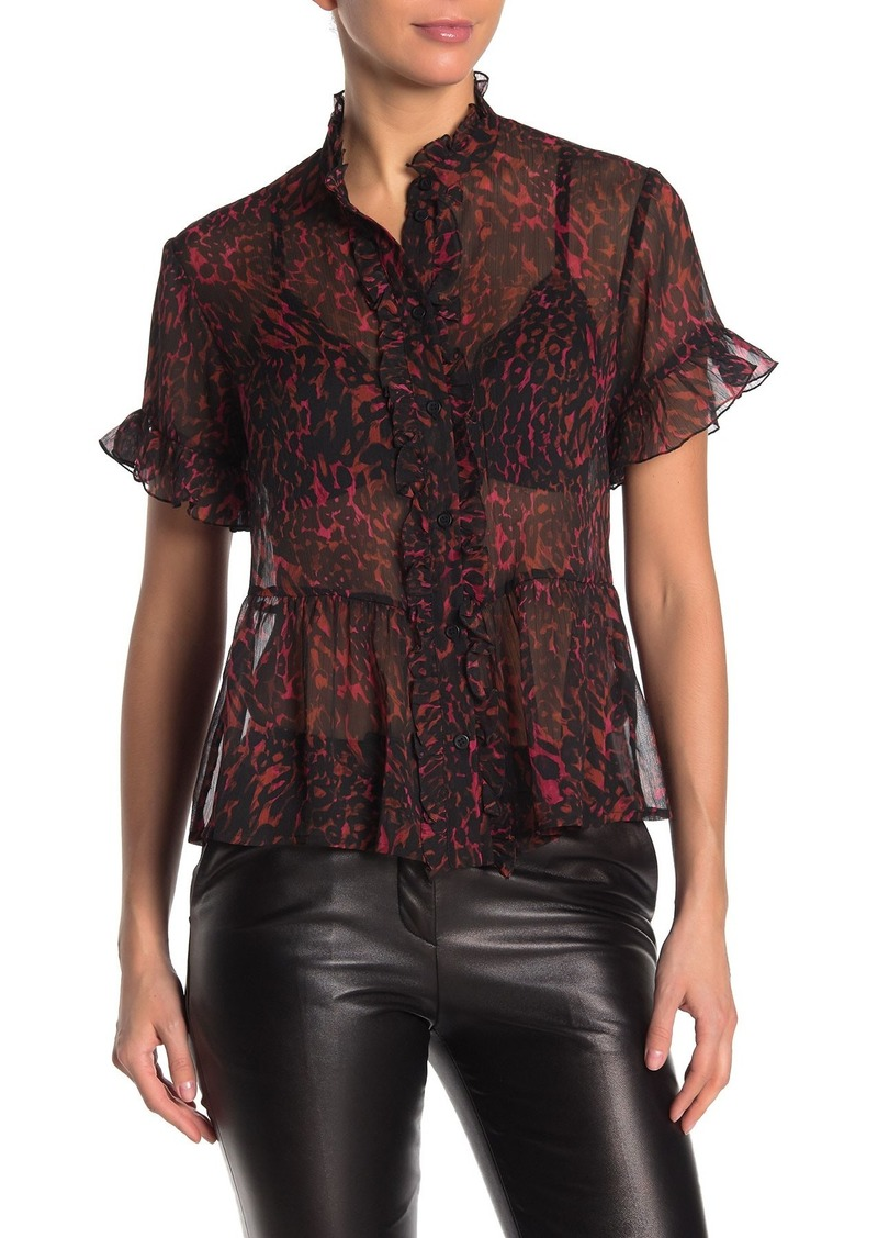 French Connection Leopard Print Ruffled Chiffon Top