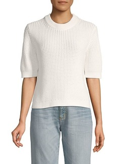 French Connection Luna Mozart Waffle-Knit Cotton Top