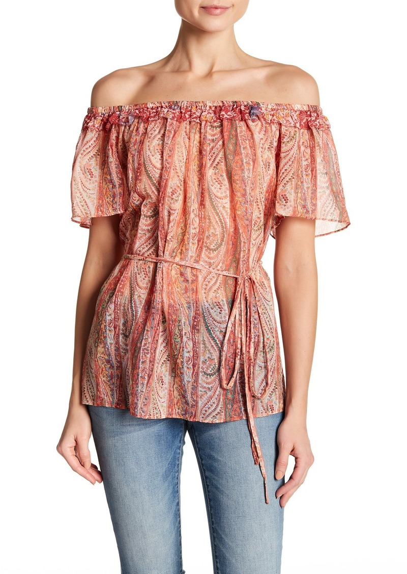 French Connection Malika Sheer Off-the-Shoulder Top