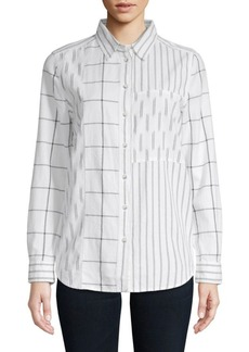 French Connection Maras Mixed Pattern Cotton Button-Down Shirt