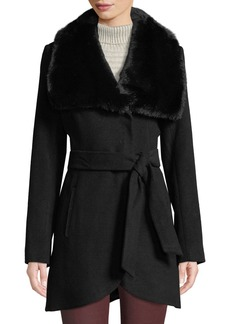 French Connection Melton Faux-Fur-Collar Belted Coat