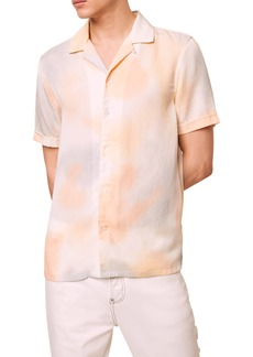 Men's French Connection Slim Fit Tie Dye Short Sleeve Button-Up Camp Shirt
