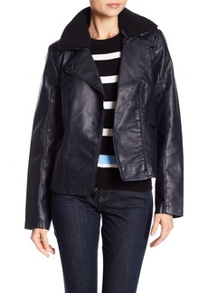 French Connection Moto Faux Fur Collared Faux Leather Jacket