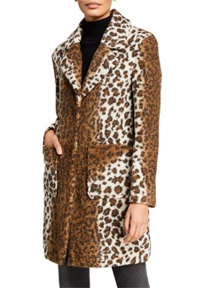 French Connection Notch Collar Leopard-Print Coat