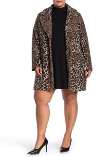 French Connection Notch Collar Leopard Print Faux Shearling Trench Coat (Plus Size)