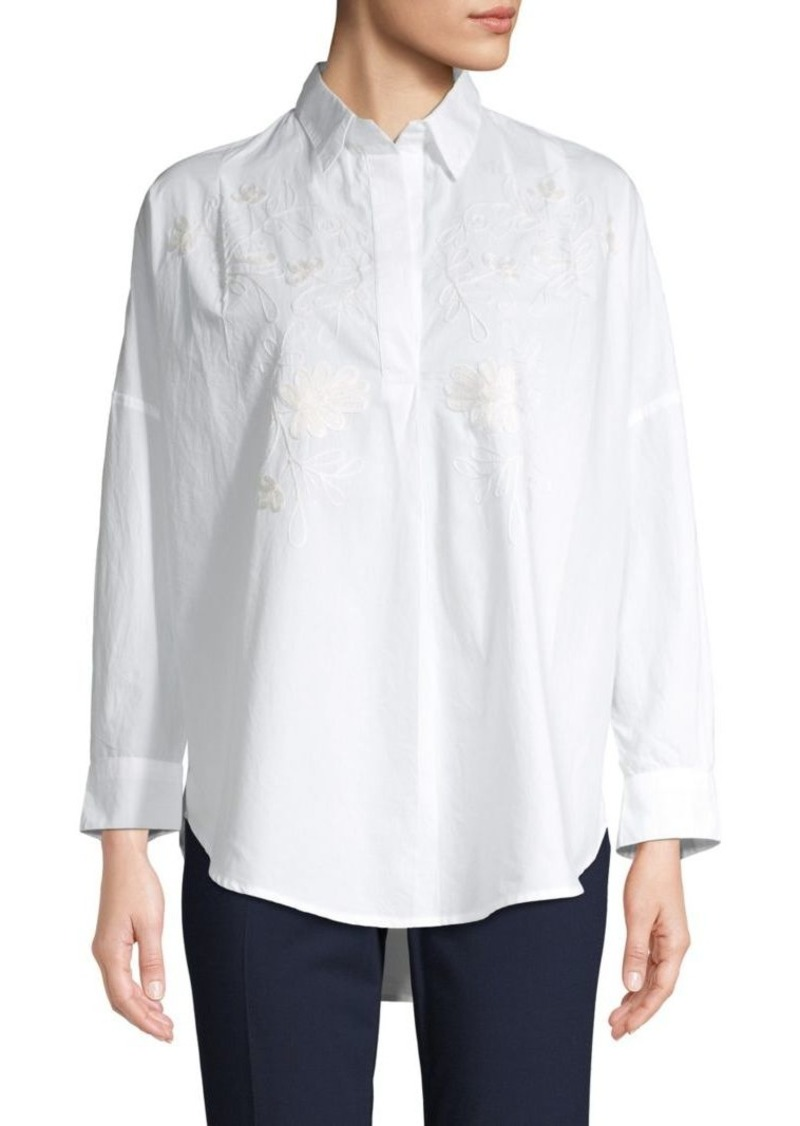 French Connection Oversized Embroidered Cotton Shirt