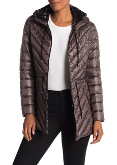 French Connection Packable Drawstring Waist Puffer Coat