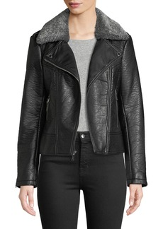 French Connection Pebbled Faux-Leather Moto Jacket w/ Faux-Shearling Collar
