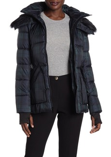 French Connection Plaid Faux Fur Trimmed Quilted Jacket