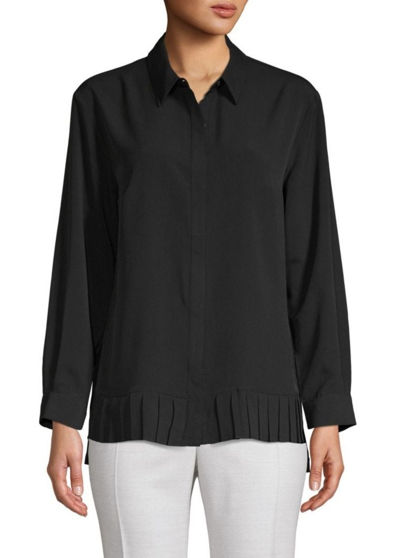 French Connection Pleated High-Low Button-Down Shirt