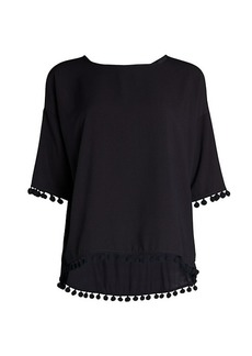 French Connection Pom-Pom Short-Sleeve Tee