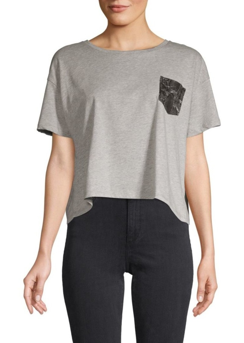 French Connection Snakeskin-Print Pocket Crop T-Shirt