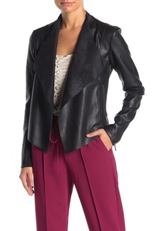 French Connection Stephanie Faux Leather Waterfall Jacket