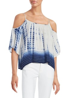 French Connection Tie-Dye Print Cold-Shoulder Top