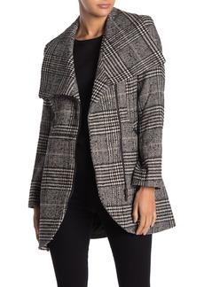 French Connection Tulip Hem Asymmetrical Plaid Print Wool Blend Coat