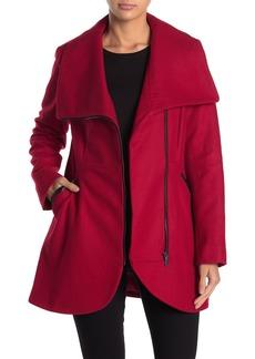 French Connection Tulip Hem Asymmetrical Wool Blend Coat