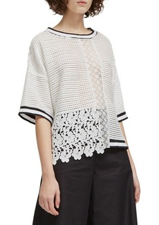 French Connection Vosporos Lace-Mesh Mix Top