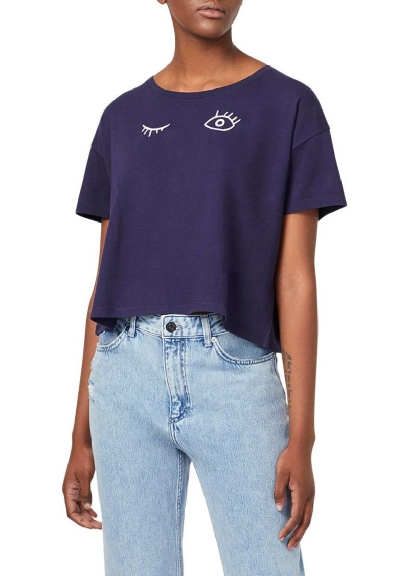 French Connection Wink Embroidery Crop Tee