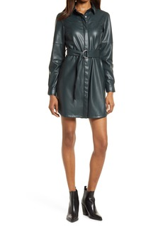 Women's French Connection Long Sleeve Faux Leather Shirtdress