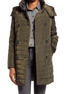 Women's French Connection Water Repellent Double Breasted Hooded Quilted Coat