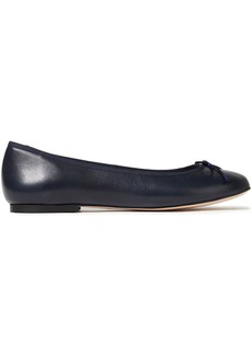 French Sole Woman Lola Bow-embellished Leather Ballet Flats Storm Blue