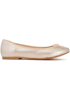 French Sole Woman Lola Bow-embellished Metallic Textured-leather Ballet Flats Platinum