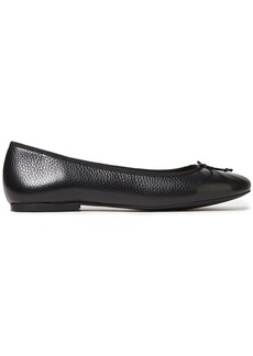 French Sole Woman Lola Bow-embellished Pebbled-leather Ballet Flats Black