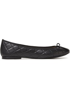 French Sole Woman Lola Bow-embellished Quilted Leather Ballet Flats Black