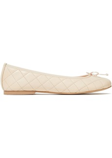 French Sole Woman Lola Bow-embellished Quilted Leather Ballet Flats Cream