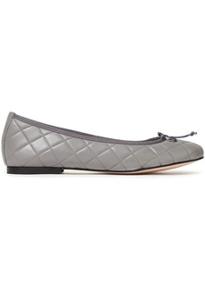 French Sole Woman Lola Bow-embellished Quilted Leather Ballet Flats Gray