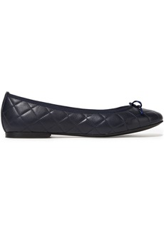 French Sole Woman Lola Bow-embellished Quilted Leather Ballet Flats Storm Blue