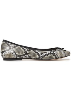 French Sole Woman Lola Bow-embellished Snake-effect Leather Ballet Flats Animal Print