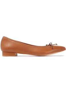 French Sole Woman Penelope Bow-embellished Leather Point-toe Flats Light Brown