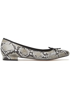 French Sole Woman Penelope Bow-embellished Snake-effect Leather Point-toe Flats Animal Print