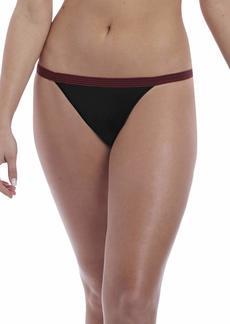Freya Women's Wild Wide Elastic Seamless Lace Cheeky Tanga Brazilian Brief Underwear -black Zebra M