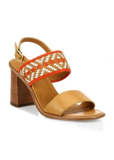 Frye Amy Woven Leather Block Heel Sandals