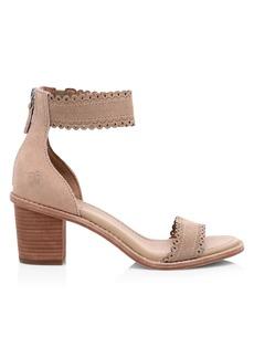 Frye Brielle Ankle-Cuff Laser Cut Suede Sandals