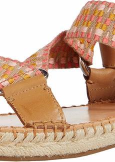 Frye and Co. Women's Kole Asymmetrical Sandal Espadrille Wedge peach multi  M US