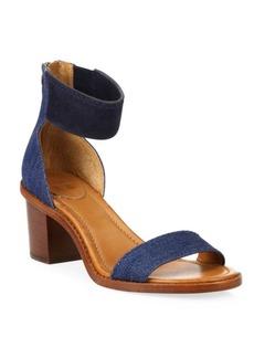Frye Brielle Demin & Suede Block Heel Sandals