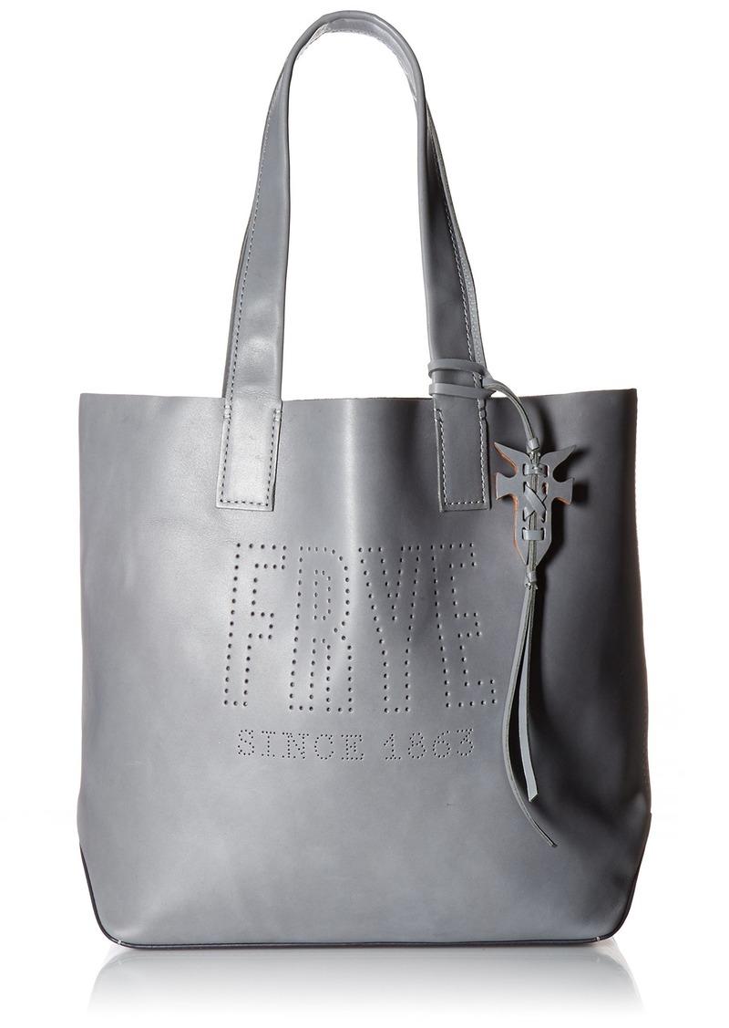 FRYE Carson Logo Perf Leather Tote Bag steel grey