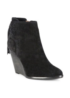 Frye Cece Tassel Lace Suede Wedge Booties