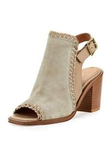 Frye Charlize Whipstitched Suede Block-Heel Sandal