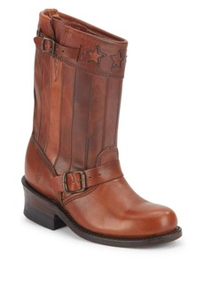 Frye Engineer Buckle-Trim Leather Boots