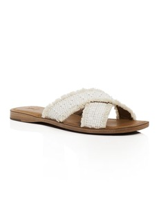 Frye Hayley Frayed Raffia Crisscross Slide Sandals