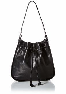 FRYE Ilana Leather Drawstring Hobo Handbag black