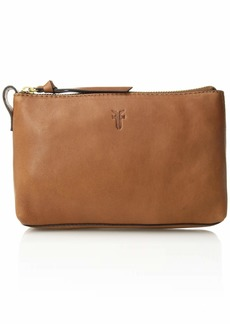 FRYE Leather Zip Makeup Case cognac