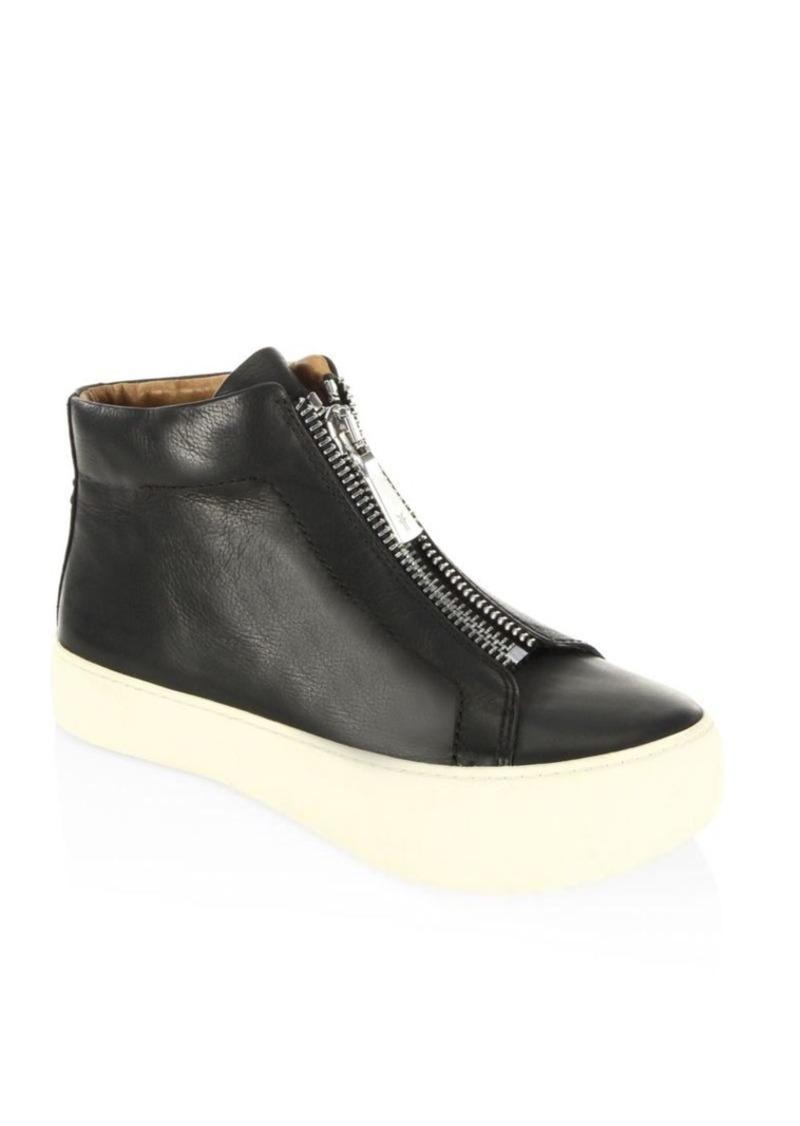 Frye Lena Zip High Top Leather Sneakers