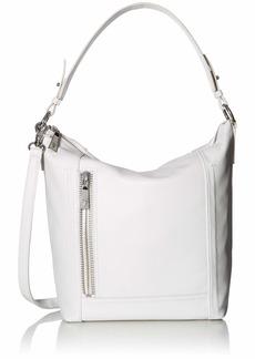 FRYE Lena Zip Leather Hobo Shoulder Bag white