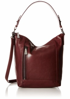 FRYE Lena Zip Leather Hobo Shoulder Bag wine