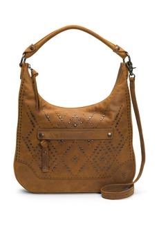 FRYE Melissa Studded Large Zip Hobo Handbag brown